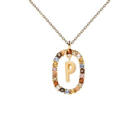 Collar letra P, oro plata y piedras de PDPAOLA
