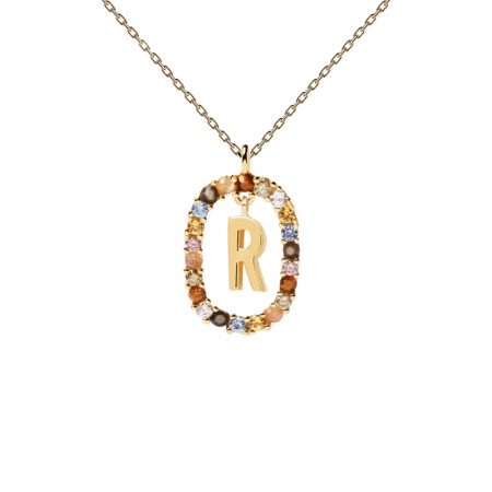 Collar letra R, oro plata y piedras de P de Paola