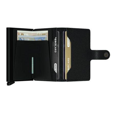Cartera SECRID Miniwallet CRISPLE automática anticopia Negro abierta