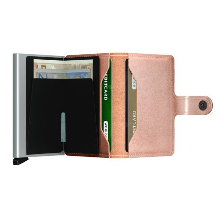 Cartera SECRID Miniwallet METALLIC automática anticopia Rosa abierta