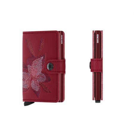 Cartera SECRID Miniwallet STITCH automática anticopia Burdeos Magnolia