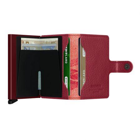 Cartera SECRID Miniwallet STITCH automática anticopia Burdeos Magnolia abierto
