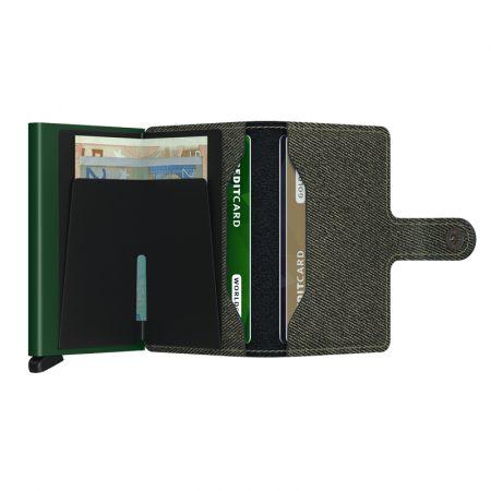 Cartera SECRID Miniwallet TWIST automática anticopia Verde abierta