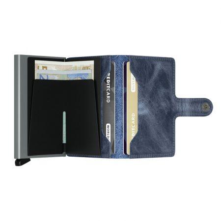 Cartera SECRID Miniwallet VINTAGE automática anticopia Azul abierta