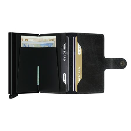 Cartera SECRID Miniwallet VINTAGE automática anticopia Negro abierta
