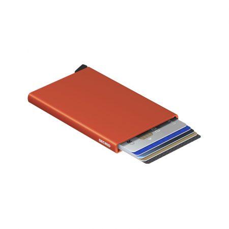Tarjetero automático cardprotector Naranja SECRID abierto